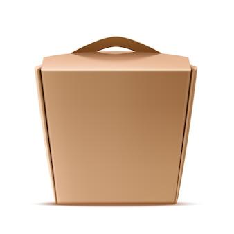 Recipiente de caixa de papel de macarrão chinês realista Vetor Premium