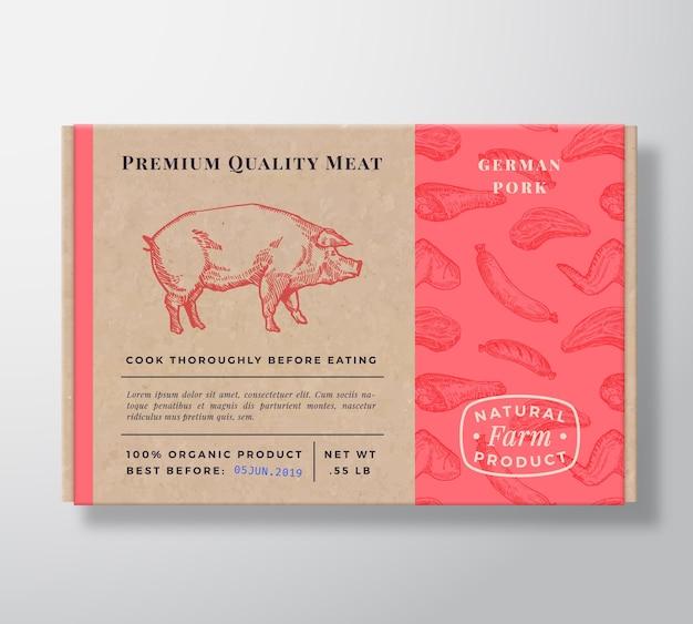 Recipiente de caixa de papelão realista com padrão de carne