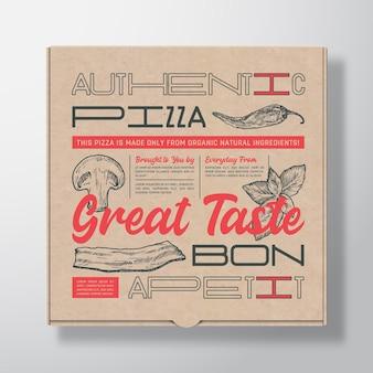 Recipiente de caixa de papelão realista para pizza
