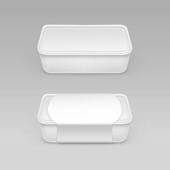 Recipiente de caixa de plástico branco em branco para alimentos