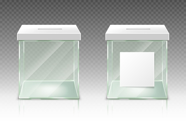 Recipiente de cédula de plástico de vidro para caixa de doação vazio