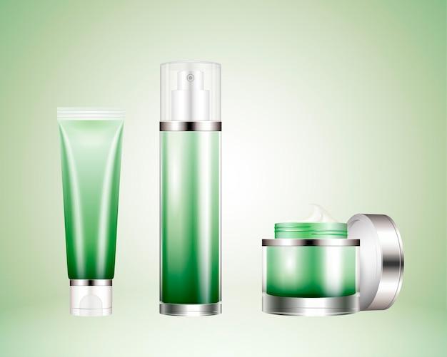 Recipiente de cosmético definido em ilustração 3d, garrafas em branco e frasco de creme