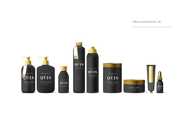 Recipiente de creme cosmético preto realista e tubo para creme, pomada, pasta de dente