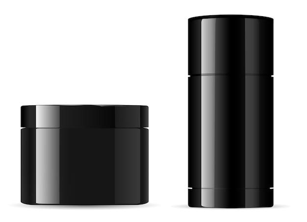 Recipiente de creme e desodorante. jarra de produtos de beleza