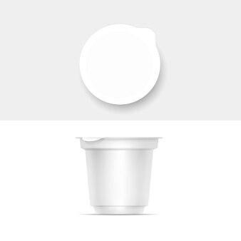 Recipiente de embalagem branca em branco para iogurte, sorvete, sobremesa