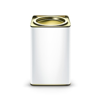 Recipiente de embalagem de caixa de lata branca para café com chá