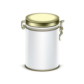 Recipiente de embalagem de caixa de lata branca para chá ou café