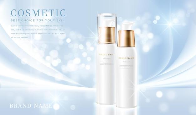 Recipiente de frasco cosmético elegante 3d com banner modelo cintilante azul claro brilhante.