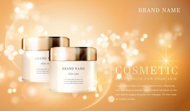 Recipiente de frasco cosmético transparente 3d com banner modelo cintilante dourado brilhante.