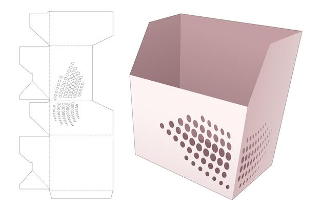 Recipiente de lanche com molde recortado de pontos de meio-tom estampado