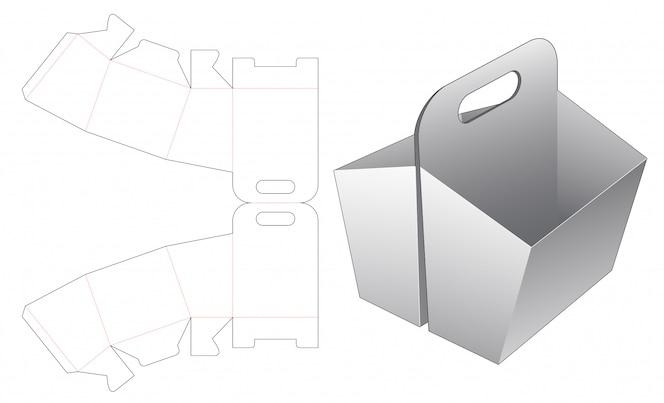 Recipiente de lanche duplo com modelo de suporte cortado