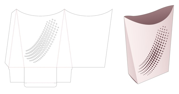 Recipiente de lanche e travesseiro com molde recortado de pontos de meio-tom estampado