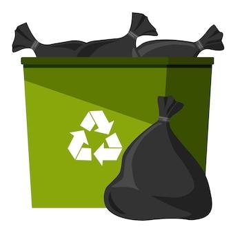 Recipiente de lixo de cor verde com sacos de lixo.