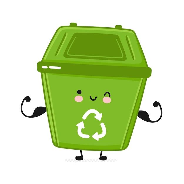 Recipiente de lixo forte e feliz fofo mostrando músculos