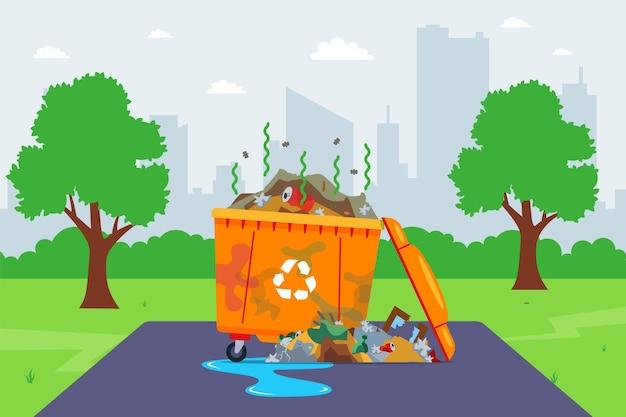 Recipiente de lixo sujo na rua. serviços municipais precários. ilustração vetorial plana.