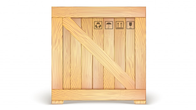 Recipiente de madeira com ícones de transporte