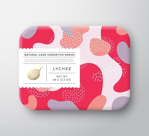 Recipiente de papel embrulhado de vetor de caixa de cosméticos de banho de frutas com design de embalagem de tampa de etiqueta de cuidado