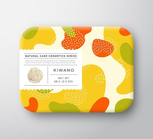 Recipiente de papel embrulhado de vetor de caixa de cosméticos para banho de frutas