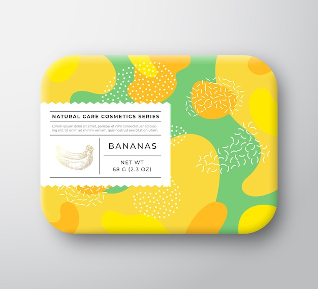 Recipiente de papel embrulhado em caixa de cosméticos de banho de frutas com etiqueta de cuidado.