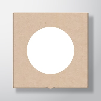Recipiente de papelão para pizza artesanal com modelo de etiqueta redonda branca transparente