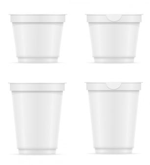 Recipiente de plástico branco em branco de ilustração vetorial de iogurte ou sorvete