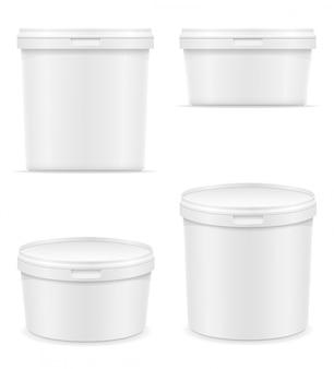 Recipiente de plástico branco em branco para sorvete ou ilustração vetorial de sobremesa