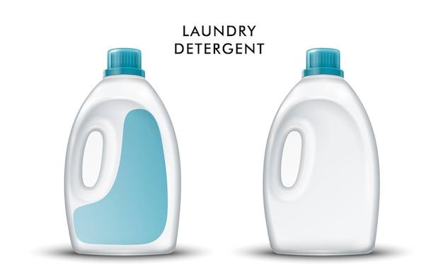 Recipiente de plástico em branco para produtos químicos de limpeza doméstica, isolado no branco