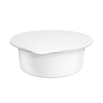 Recipiente de plástico em branco realista para iogurte. ilustração isolado