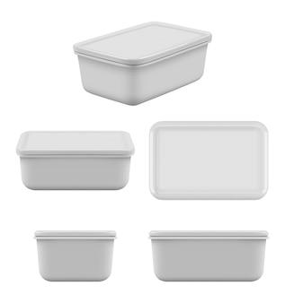 Recipiente de plástico para alimentos. mock-se caixas vazias para cuidar do armazenamento de produtos de cozinha para prateleiras conjunto realista de vetor de utensílio de almoço. maquete de plástico do recipiente para ilustração de alimentos