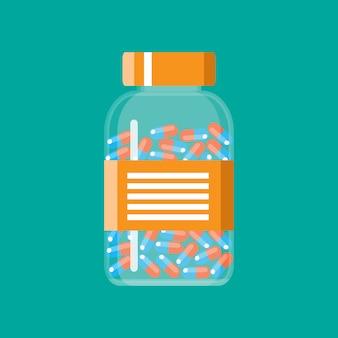 Recipiente de vidro com cápsulas de comprimidos médicos