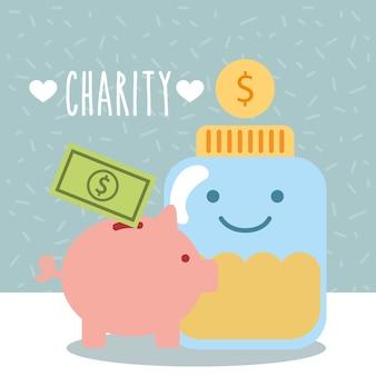 Recipiente de vidro moedas porquinho dinheiro doar caridade
