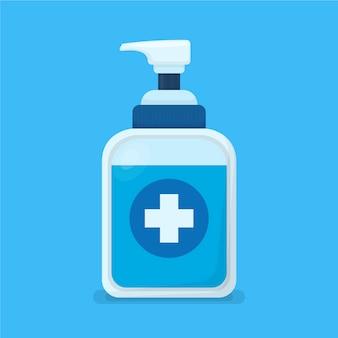 Recipiente desinfetante para as mãos de design plano