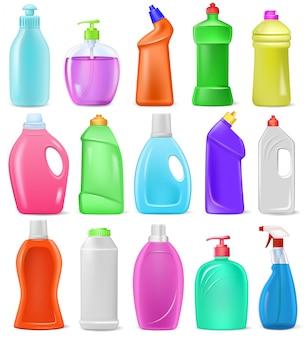 Recipiente em branco plástico dos desenhos animados garrafa detergente com detergente líquido e maquete produto de limpeza doméstico para conjunto de ilustração de roupa de pacote de dissuasão de limpeza isolado no fundo branco