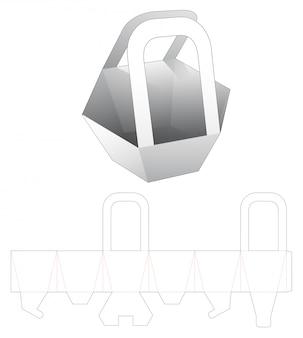 Recipiente hexagonal para lanches com modelo de suporte cortado