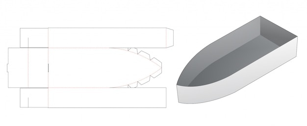 Recipiente para lanche em forma de barco modelo de corte