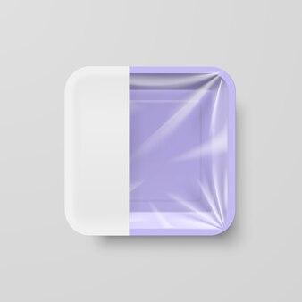 Recipiente quadrado de plástico roxo vazio com etiqueta branca
