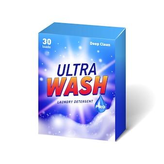 Recipiente realista para detergente com etiqueta desenhada.