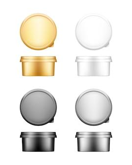 Recipiente redondo de queijo, manteiga ou margarina com conjunto de maquete de tampa - vista frontal e superior