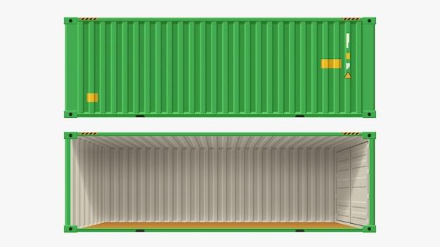 Recipiente verde sem parede lateral