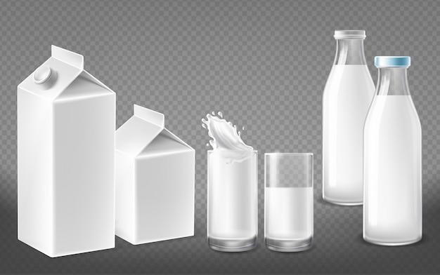 Recipientes brancos para produtos lácteos naturais, garrafas de leite com tampas, copos cheios