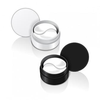 Recipientes com adesivos de hidrogel para os olhos. ilustração de adesivos de gel realista para os olhos