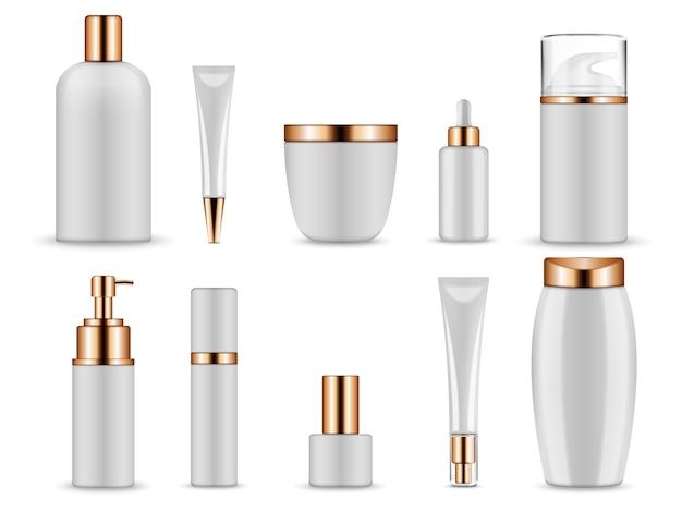 Recipientes cosméticos para cremes e frascos tônicos.