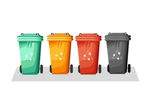 Recipientes de coleta de lixo. classificando o lixo por diferentes tipos. ilustração em vetor de um desenho animado.