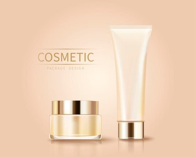 Recipientes de cosméticos vazios para uso em design em estilo 3d