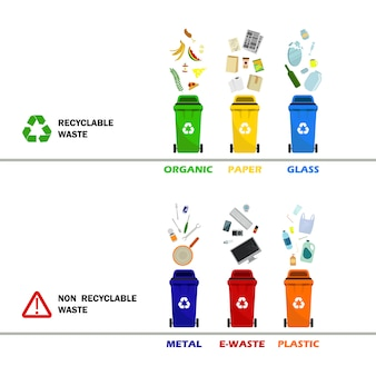 Recipientes de lixo de plástico de diferentes tipos. recipientes para todos os tipos de lixo. latas de lixo para papel, eletrônicos em plástico para resíduos de alimentos