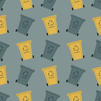 Recipientes de lixo para classificação vidro plástico reciclagem de resíduos recicláveis padrão uniforme