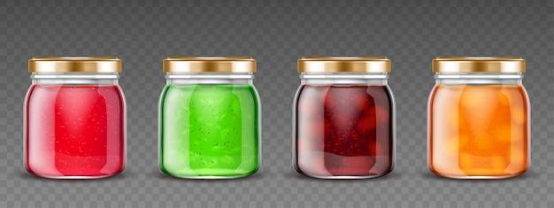 Recipientes de vidro com gelatina de frutas