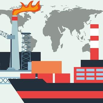 Recipientes do navio do petroleiro da indústria petroleira e mundo da fábrica