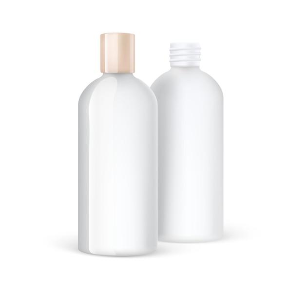 Recipientes e caixas de plástico para embalagens cosméticas realistas