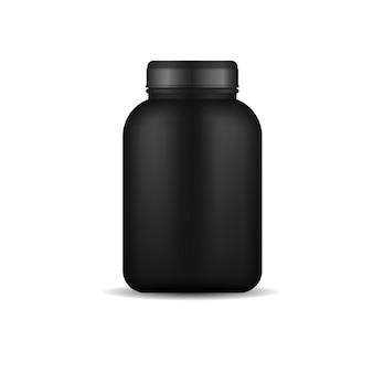Recipientes pretos para comida esportiva, garrafa de plástico preta realista com vetor de proteína